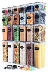 ✮ SUPERIOR BUNDLE - Your Complete Bundle comes with 24 BPA-FREE Premium Food-Storage Canisters, Measuring Spoon Set, a Chalkboard Marker & BONUS Reusable Chalkboard Labels allowing You to organize your pantry like never before. This set comes in a be...