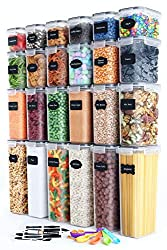 24 plastic food storage containers in 4 different sizes stacked 4 tall