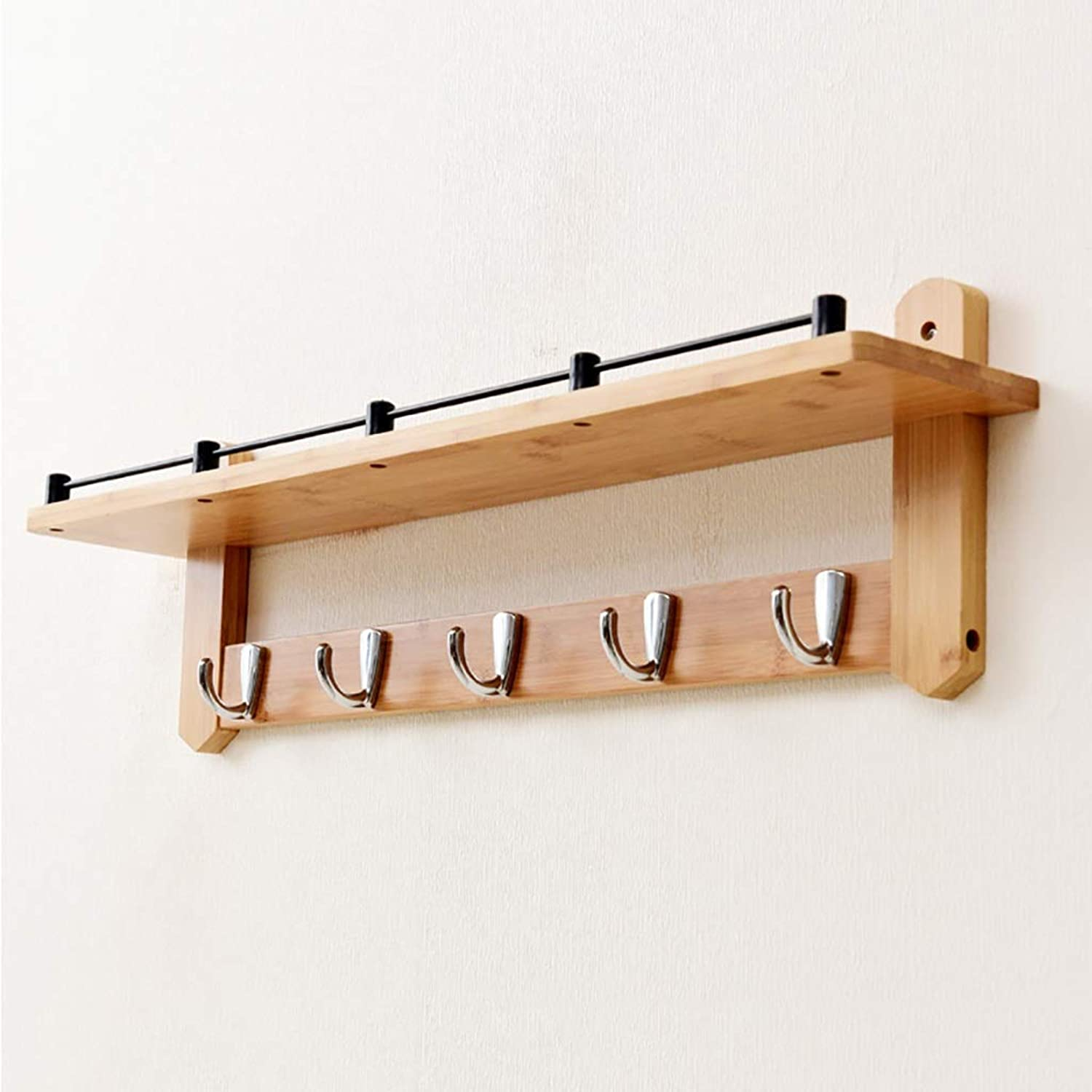 Wall-Mounted Coat Rack, Bamboo Wall Decorative Shelf with Metal Hooks (56 66cm) (Size   66  12  20cm)
