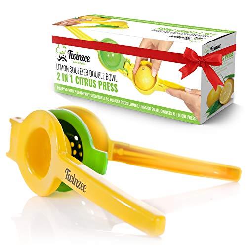 Twinzee Zitronen- und Limettenpresse mit zwei Aufsätzen - Zitronenpress– aus Aluminium