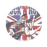 DIYthinker Guitare Rock Angleterre Grande-Bretagne Country Drapeau Britannique antidérapant Tapis de Pet de Sol Rond de Salle de Bain Salon Porte de Cuisine 80cm Cadeau