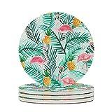 Facbalaign Sottobicchieri in ceramica per piante tropicali e fenicotteri, con fondo in sughero antigraffio rotondo, inodore, 4 pezzi