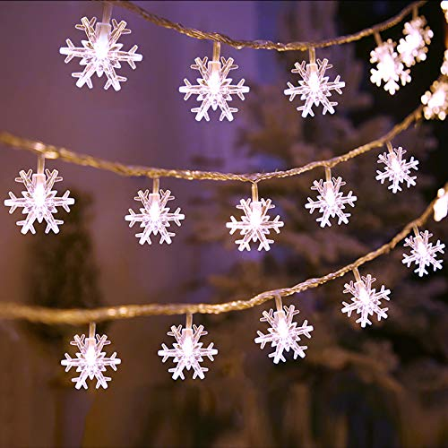 Christmas Lights, Snowflake String Lights 32.8 ft 80 LED Fairy Lights Battery Operated Waterproof for Xmas Garden Patio Bedroom Party Decor Indoor Outdoor Celebration Lighting (White)