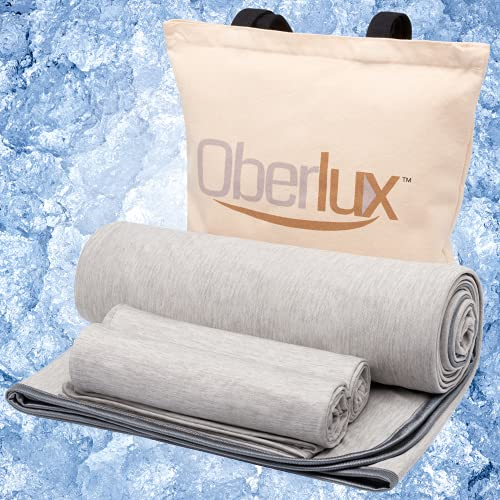 Oberlux Cooling Blanket & Cooling Pillow Cases-3 Piece Set (Blanket size 59' x 79' Pillowcases size 20' x 30') Cool Touch Q-max 0.5 - Summer Blanket 100% Cotton Backing. Breathable, Comfortable, Gray.