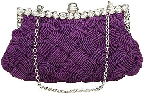 Womens Evening Clutch Tassen Wedding Bridal Gevlochten Rhinestone Handtas van de Beurs voor Mather's Day Purple