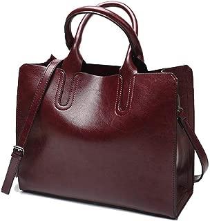 Fine Bag/Retro Oil Wax Leather Handbag Fashion Simple Shoulder Bag Casual Wild Crossbody Bag Large Capacity Ladies Tote Bag Work Travel (Color : Red, Size : 33 * 13 * 28cm)