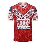 WXFO Maillot de rugby Tonga pour homme - Maillot de rugby - Respirant - Nettoyage répété - Manches courtes - Séchage rapide - Shi Red2-S