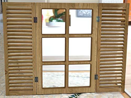Spiegel-hübscher Fensterspiegel mit Klappläden- Höhe 61,5 cm-Spiegel, Holz,braun- stabile Ausführung, Landhausstil