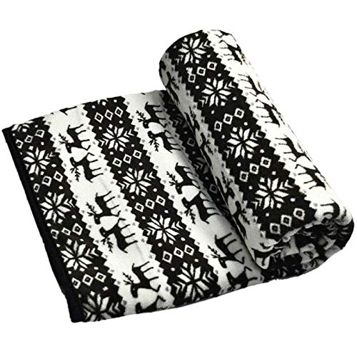 Electric Heated Car Blanket, 12V Plush Blanket Heated Blanket for Car Trucks, Winter Cold Weather Electric Car Blanket with Elk Snowflake Pattern for Truck, Electric Car, Van, Business Car (150x100cm)