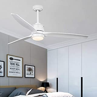 52-Inch Ceiling Fan with LED Light Kit, Remote Control, 3 Wood Blades, White