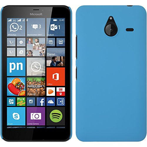 PhoneNatic Case kompatibel mit Microsoft Lumia 640 XL - Hülle hellblau gummiert Hard-case + 2 Schutzfolien