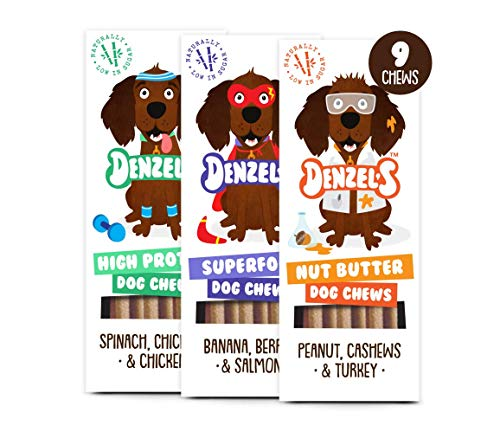 Denzel's Healthy Dog Treats - Low Calorie, Low Fat, Grain Free, Hypoallergenic, Natural Dog Treats - Mixed Suitcase: High Protein, Superfood, Nut Butter - 1 Pack of each (Total 9 Chews)