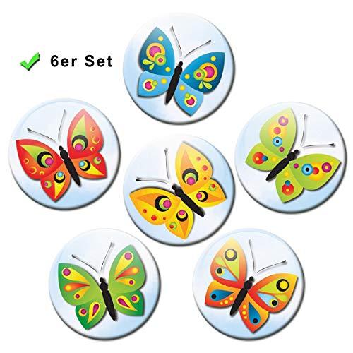 Koelkastmagneten vlinders 6-delige cadeauset magneten dieren voor magneetbord kinderen sterk groot Ø 50 mm bont