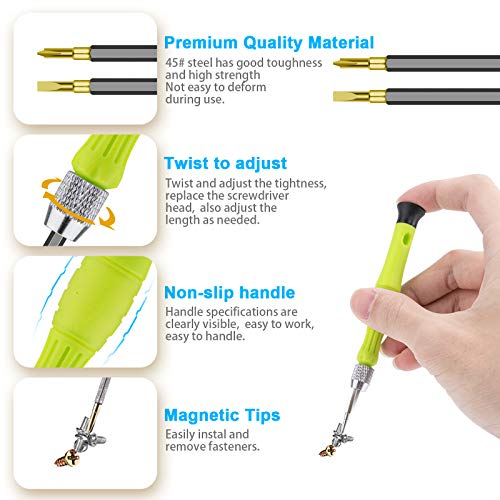 Small Screwdriver Sets, Precision Mini Screwdrivers Set Repair Tool Bit Kit with 6PCS Flat Phillips Pentalobe Triwing Y for Eyeglass Watch Jewelers Laptop Computer Macbook Electronic