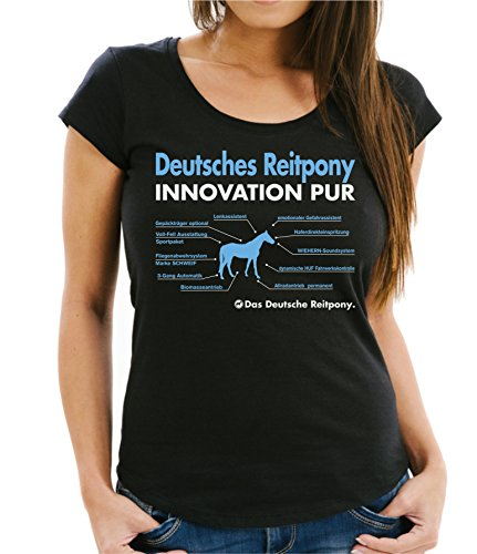 Siviwonder Women T-Shirt Innovation - DEUTSCHES REITPONY Pony - Pferde Fun reiten schwarz M - 36