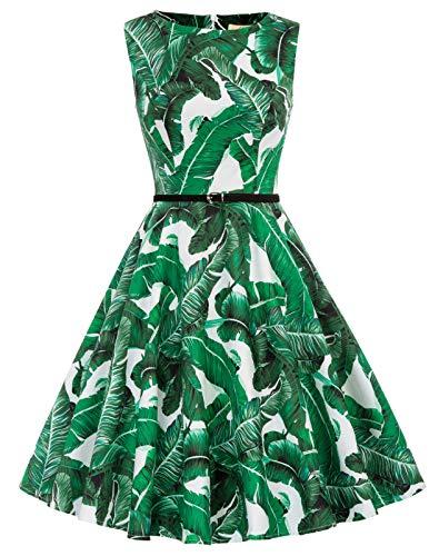Damenkleider 50s Rockabilly Kleid Knielang Retro Vintage Kleid festliches Kleid blau S CL6086-66