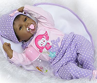 Reborn Dolls African American Realistic Dolls Black Girl Soft Vinyl Silicone Baby Doll African American Doll Babies Newborn Reborn Girls 22 Inch Christmas Gift Xmas Present