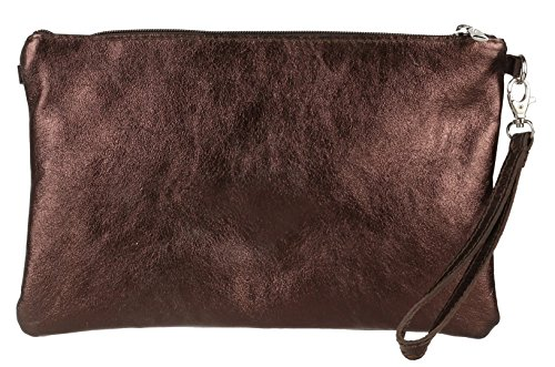 Girly Handbags Echtes italienisches Metallic-Leder Clutch Bag Bronze