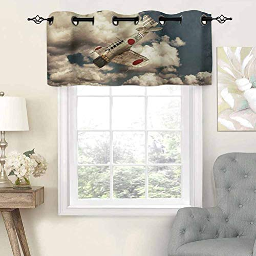Extra Short Length Insulated Thermal Window Panel Old School Plane Flying Between Clouds Model Aviation Traveling Illustration, Set of 2, 54'x24' Home Decorative Blackout Panels for Bathroom
