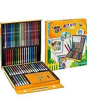 BIC Kids Maletín para Niños con 24 Lápices de Colores, 24 Rotuladores, 16 Ceras y 36 Adhesivos, Material Escolar