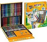 BIC Kids Activity Case Estuche Para Colorear - 24 Lápices de Colores /24 Rotuladores /16 Ceras y 36 Adhesivo – Actividades creativas para niños