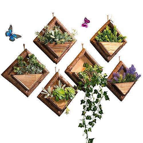 XLYS Plantador de florero de Pared Colgante Hecho a Mano de Madera Floreros Contenedor de decoración de Pared Jardinera de Flores Artificiales para decoración del hogar