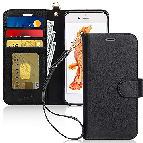 """FYY Luxury Genuine Leather Wallet Case for iPhone 6 Plus/6s Plus, [Kickstand Feature] Flip Phone Case Protective Cover with [Card Holder] [Wrist Strap] for Apple iPhone 6 Plus/6s Plus 5.5"""" Black"""