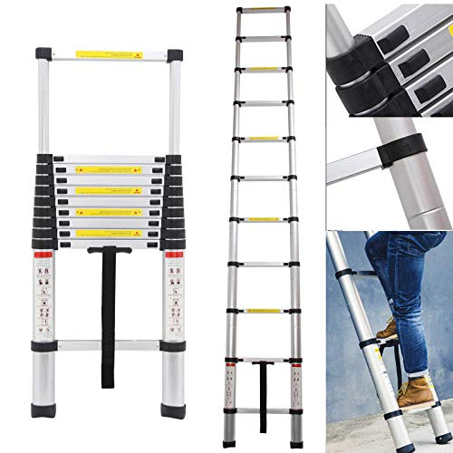 10.5Ft Telescoping Ladder Aluminum 11 Steps with Safety Locking Latches 330lb Max Load Capacity, EN131 Certificated