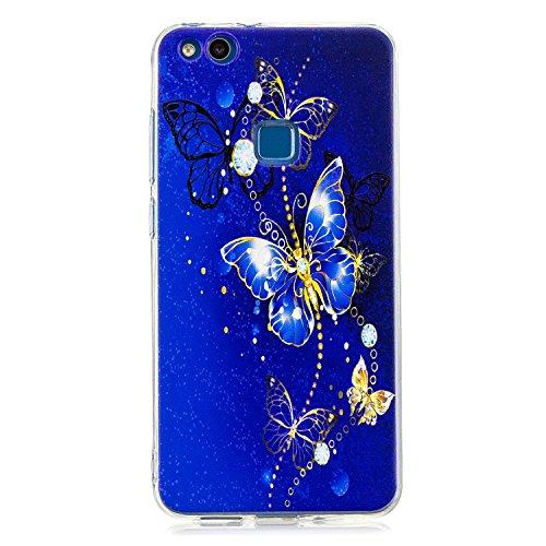 Robinsoni pour Huawei P10 Lite Coque,Huawei P10 Lite Coque Silicone Transparente avec Motif Housse de Protection Crystal Clear TPU Souple Bumper Case Etui pour Huawei P10 Lite,Papillon Bleu