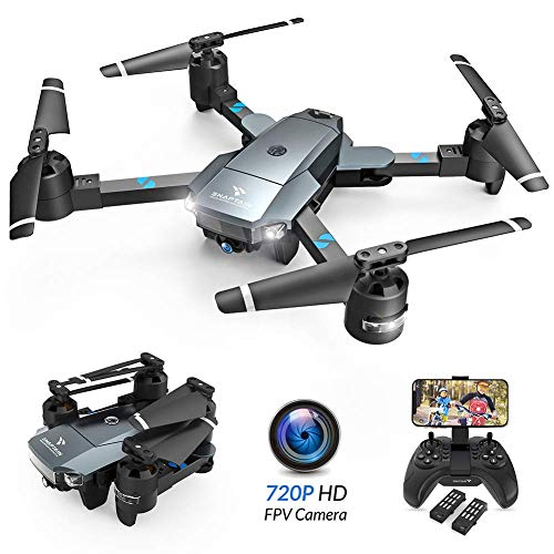 SNAPTAIN A15 Foldable Drone w/Voice Control/120°Wide-Angle 720P HD Camera/2 Modular Batteries/App Control
