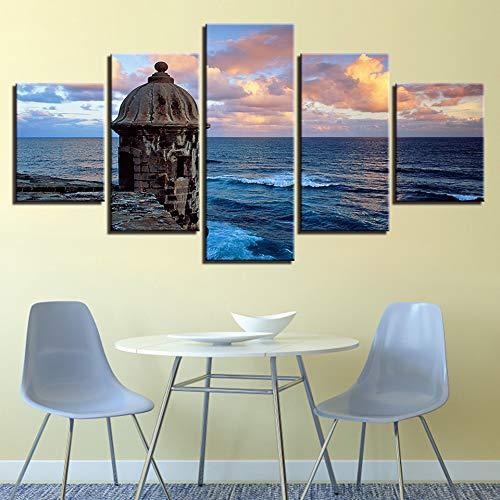 LIBIHUA Leinwand Poster Wohnkultur Wandkunst Rahmen 5 Stücke Sonnenuntergang Leuchtturm Meer Wellen Seascape Gemälde Wohnzimmer Drucke Bilder 150x80cm Rahmen