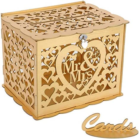 Ywlake Wedding Money Box Holder with Sign Large Rustic Wood Wooden DIY Envelop Gift Card Boxes product image