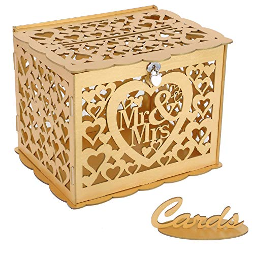 Ywlake Wedding Money Box Holder with Sign, Large Rustic Wood Wooden DIY Envelop Gift Card Boxes with Lock Slot for Reception Anniversary Graduation Birthday Party Parties (Mr & Mrs, Gold)