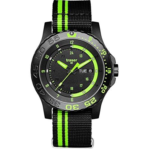 Traser H3 Green Spirit P66 Armbanduhr Saphirglas mit Textilband Schwarz/Grün 105542