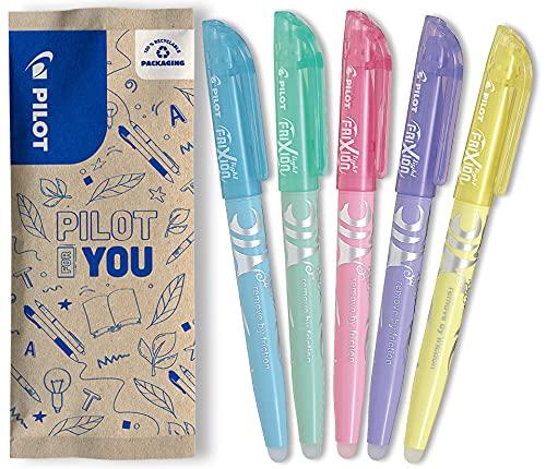 PILOT FriXion Light Soft, Radierbarer Textmarker, 5er Set (Pastellblau, -grün, -pink, -violett, -gelb)
