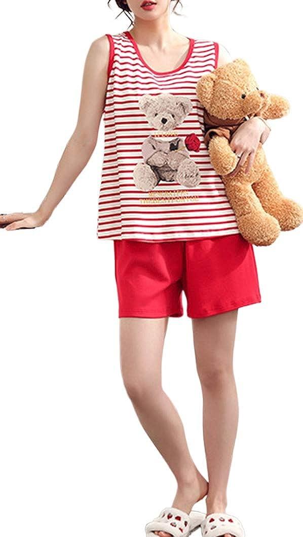 KINYBABY Women Girls Summer Pajama Sets Cute Bear Stripped Sleepwear Nightwear Lounge Sleeveless Pjs Top with Shorts Set