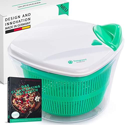 freegreen® Premium Salatschleuder [5L] mit patentierten Zugmechanismus, Siebeinsatz & Deckel mit integriertem Wasser-Ausgießer | Salatschüssel zum stilvollen Servieren | Inklusive Kochbuch