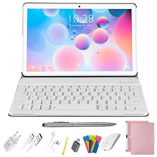 2 in 1 Tablets 10 inch Android 10.0 4GB RAM 64GB Storage with Wireless Keyboard Case, 1920 x 1200 IPS HD Touchscreen, WiFi 4G Quad-Core, Dual Camera - (Pink)