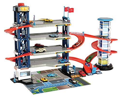 Dickie Toys - Parking Garage Playset With 4 Die-Cast Cars And Die-Cast Helicopter
