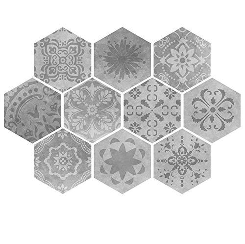 ACEACE 10 PCS PVC Gris Mosaico Pegatina de azulejo Nuevo Creativo Hexagonal Auto Adhesivo decoración para baño Home Home Wallpaper Wallpaper (Color : Gery, Size : 23x20cm)