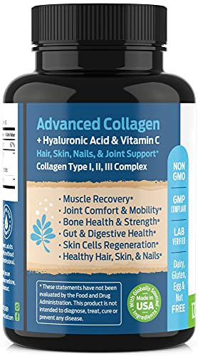 51HGBoJ6JwS. SL500  - Advanced Collagen Supplement, Type 1, 2 and 3 with Hyaluronic Acid and Vitamin C - Anti Aging Joint Formula - Boosts Hair, Nails and Skin Health - 240 Capsules - by ForestLeaf