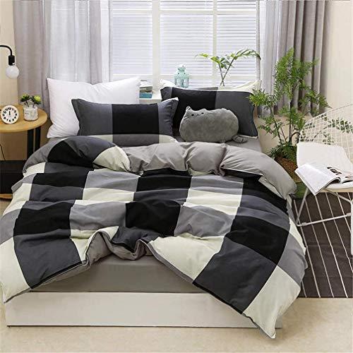 Ropa de cama 4 Piezas (1 pieza de sábanas y 1 funda nórdica y 2 fundas de almohada) Geometría Raya Negro Blanco Rosado Marina Azul (4 Piezas 220x240 cm - Cama 150 cm,Negro Blanco Celosía)