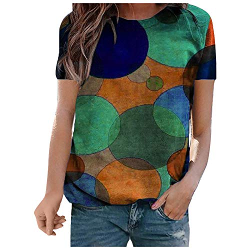 1111 Summer Tee Tops for Women Short Sleeve Top Loose Polka Dot Print Pullover Crew Neck Basic Blouse Breathable Slim Tunic Tops Comfortable Sweat-absorbent Pullover