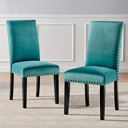 Modway Parcel Performance Velvet Dining Side Chairs - Set of 2, Teal