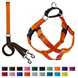 2 Hounds Design Freedom No-Pull Dog Harness and Leash, Adjustable Comfortable Control for Dog Walking, Made in USA (Large 1') (Rust)
