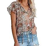 WXDSNH Camiseta De Manga Corta con Cuello En V Estampada Informal para Mujer Camiseta Suelta con Tops De Verano