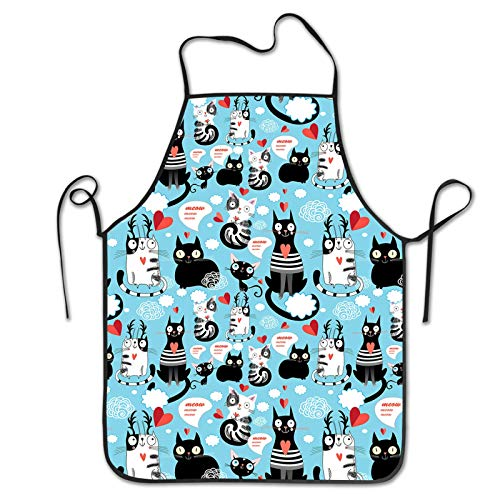 MINIOZE White Cats in Love Blue Cute Beautiful Apron Theme Cooking Chef Work Shop Women Men Adult Girl Kid Weavers Baking Decorations Painting BBQ Grilling Kitchen Accessories Party Supplies