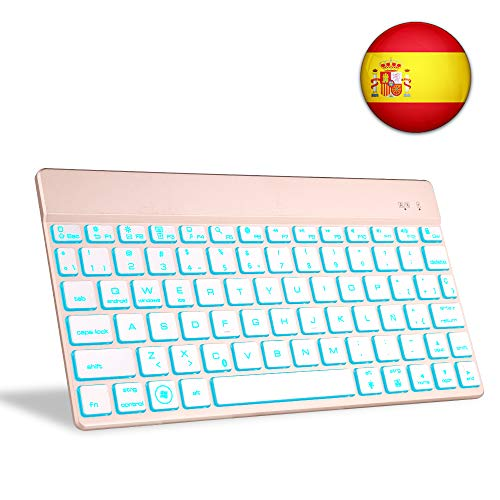 Teclado Bluetooth Tablet, Boriyuan Español 7 Colores Backlist Teclado inalámbrico Ultra Delgado portátil para Sistemas computadora portátil, teléfono Inteligente, Macbook, iOS, Android Windows