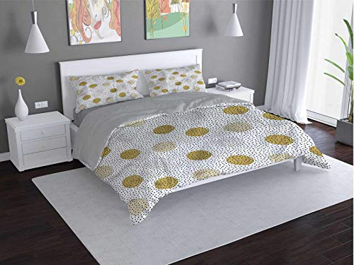 Toopeek Circle Quilt cover 3-piece set Small-Dot-Design-Pointillism Super soft and easy to maintain (Queen)