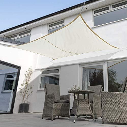 Toldo Vela Rectangular Sombra protección Rayos UV Vela de Sombra para Exteriores, Jardín,Patio o Terraza,White-2X4m